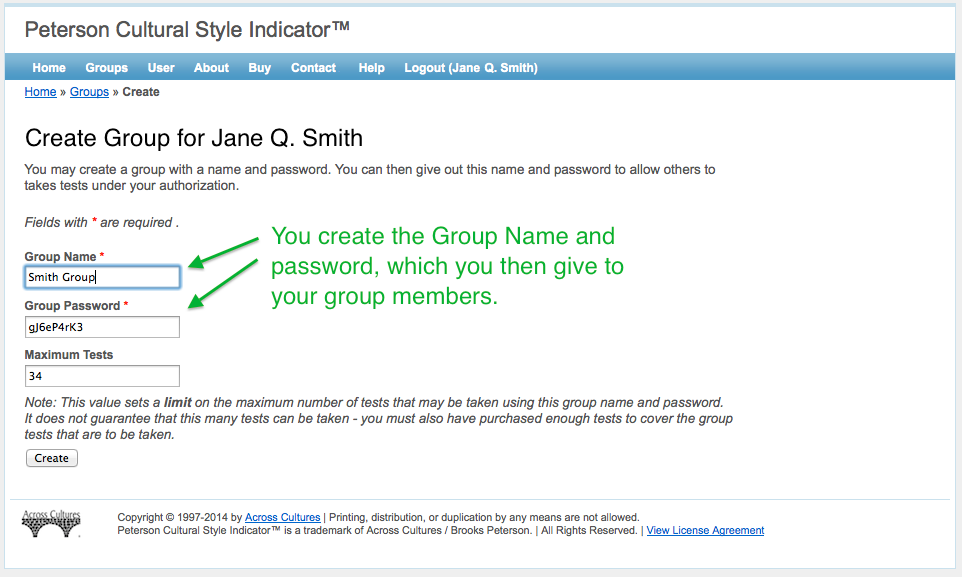 Instructors / professors: Choose a Group Name and Group Password