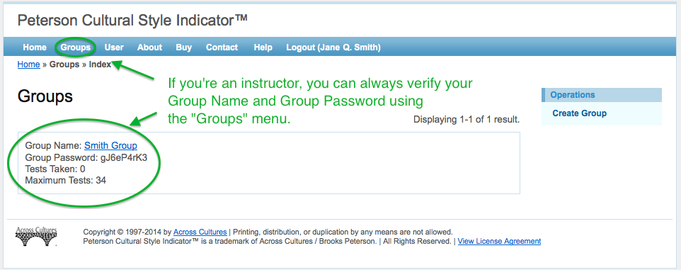 Instructors / Professors: Check your group password